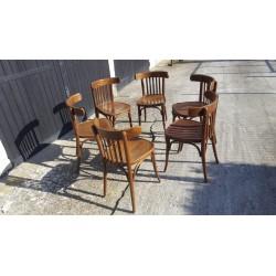 Lot de 4 chaises rutique en chêne massif paillée
