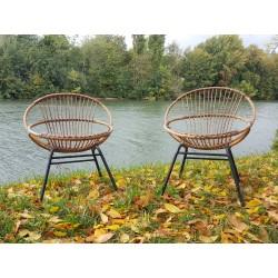 2 fauteuils rotin 1950