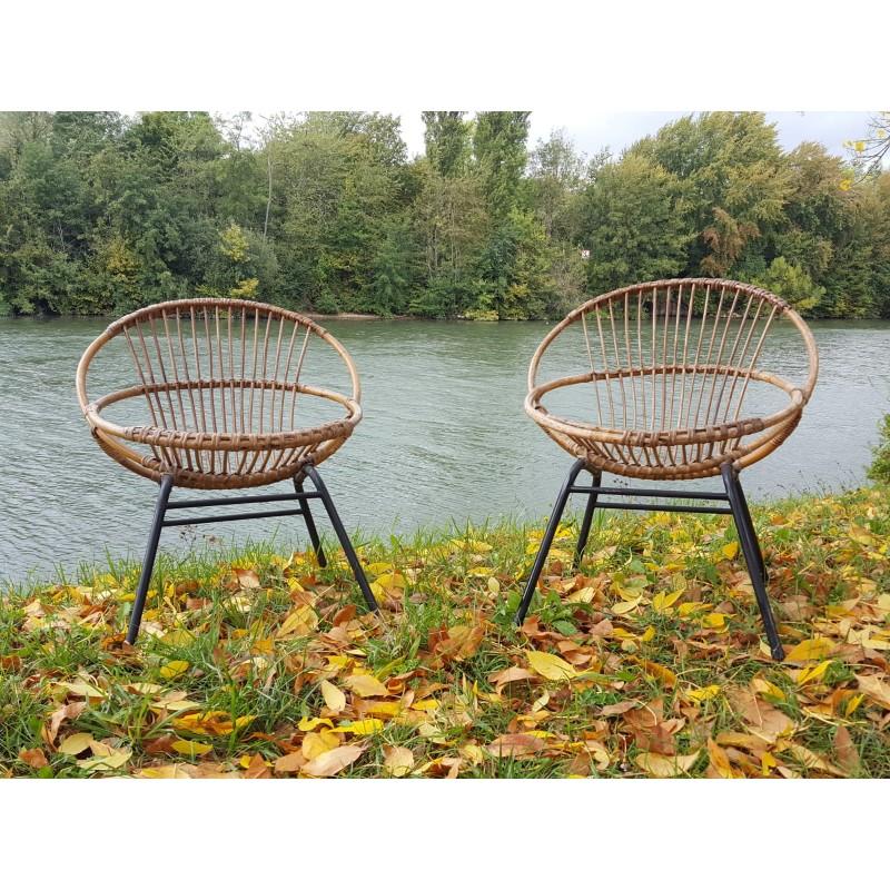 paire fauteuils rotin 1950 de vintage iPkXOZu